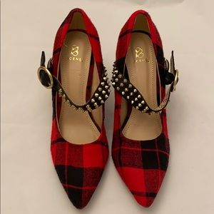Red Plaid Studded Pumps Claudine Size 9.5
